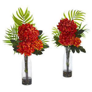 Tropical Mum Artificial Arrangement (Set of 2) - Orange
