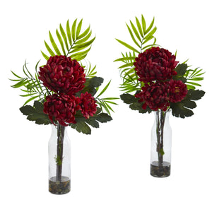 Tropical Mum Artificial Arrangement (Set of 2) - Rust