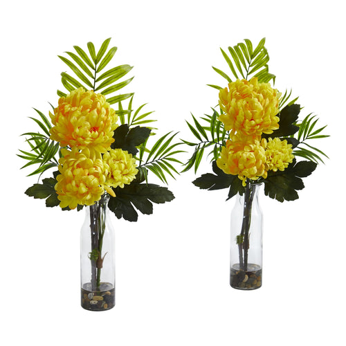Tropical Mum Artificial Arrangement (Set of 2) - Yellow