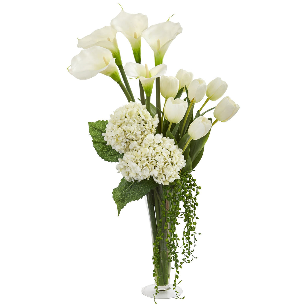 Calla, Hydrangea & Tulips Artificial Arrangement in Flared Vase - White