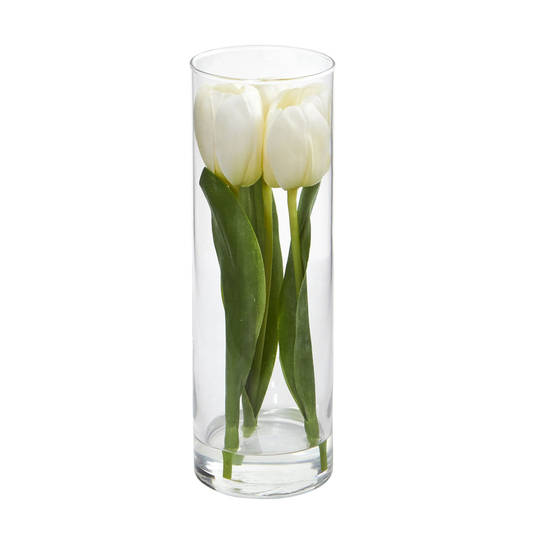 Tulips Artificial Arrangement in Glass Vase - White