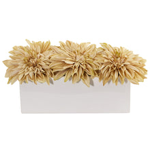 Load image into Gallery viewer, Dahlia Artificial Arrangement in White Planter - Cream