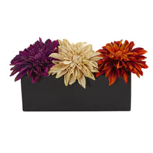 Load image into Gallery viewer, Dahlia Artificial Arrangement in Black Planter - Assorted Colors