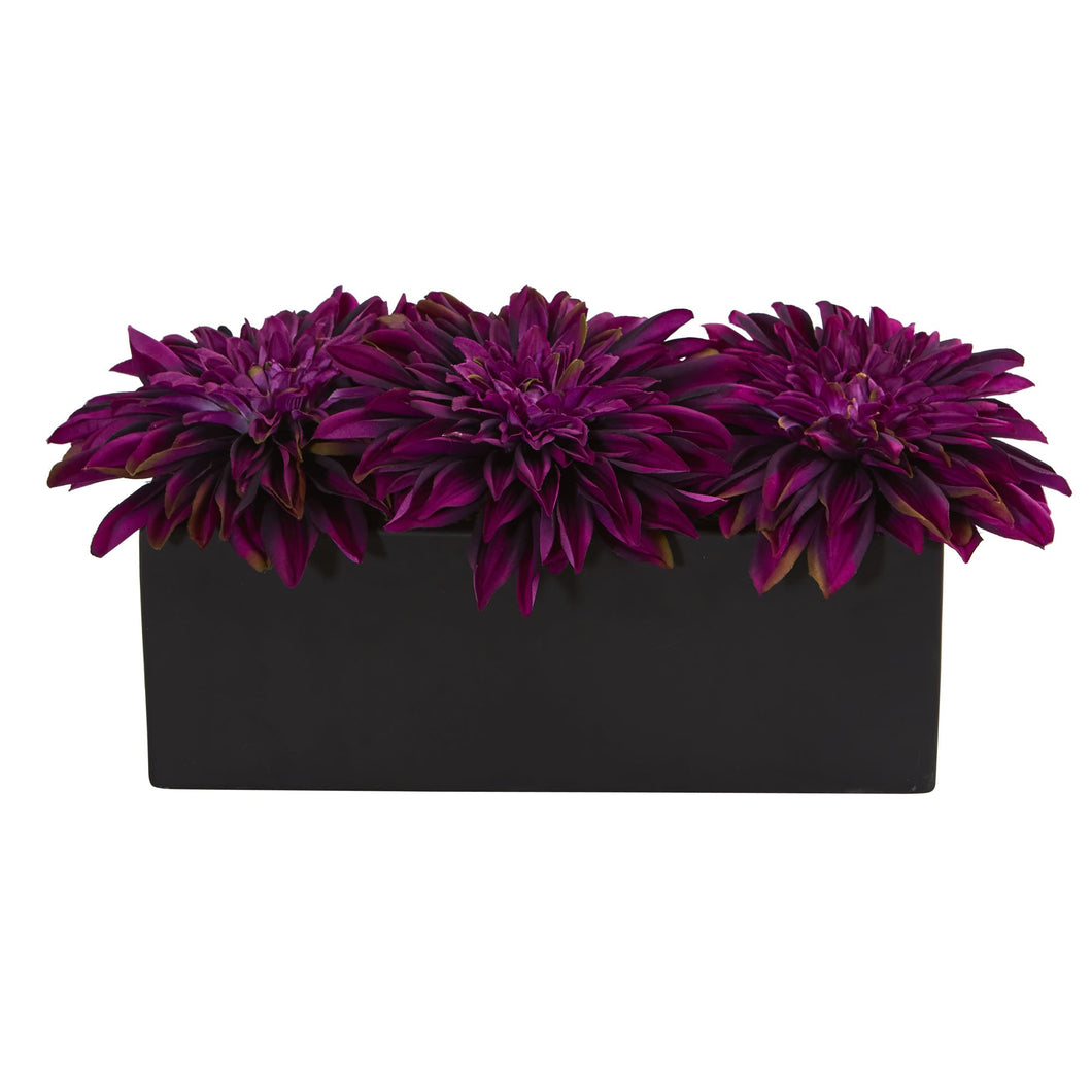 Dahlia Artificial Arrangement in Black Planter - Purple
