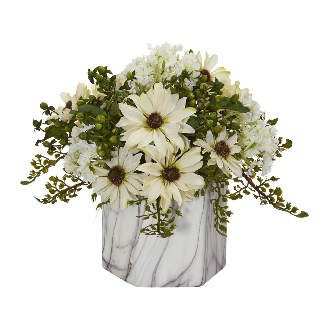 Daisy Artificial Arrangement in Marble Finished Vase - Cream