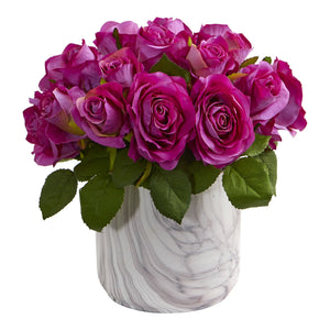 Rose Artificial Arrangement in Marble Finished Vase - Purple