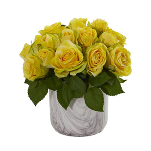Rose Artificial Arrangement in Marble Finished Vase - Yellow
