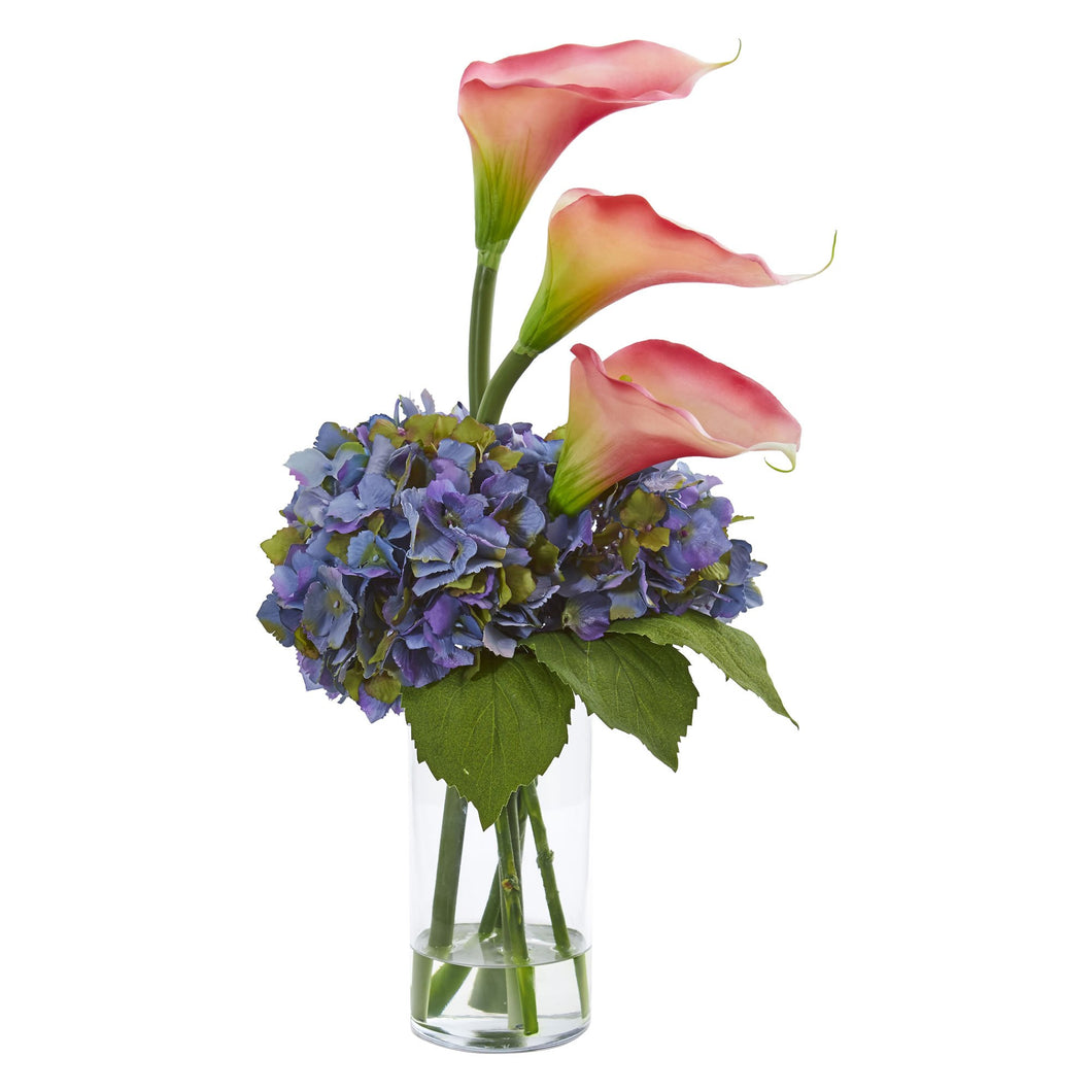 Calla Lily and Hydrangea Artificial Arrangement - Blue