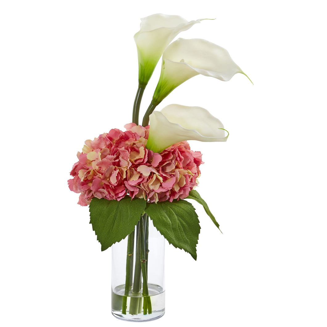 Calla Lily and Hydrangea Artificial Arrangement - Cream Pink