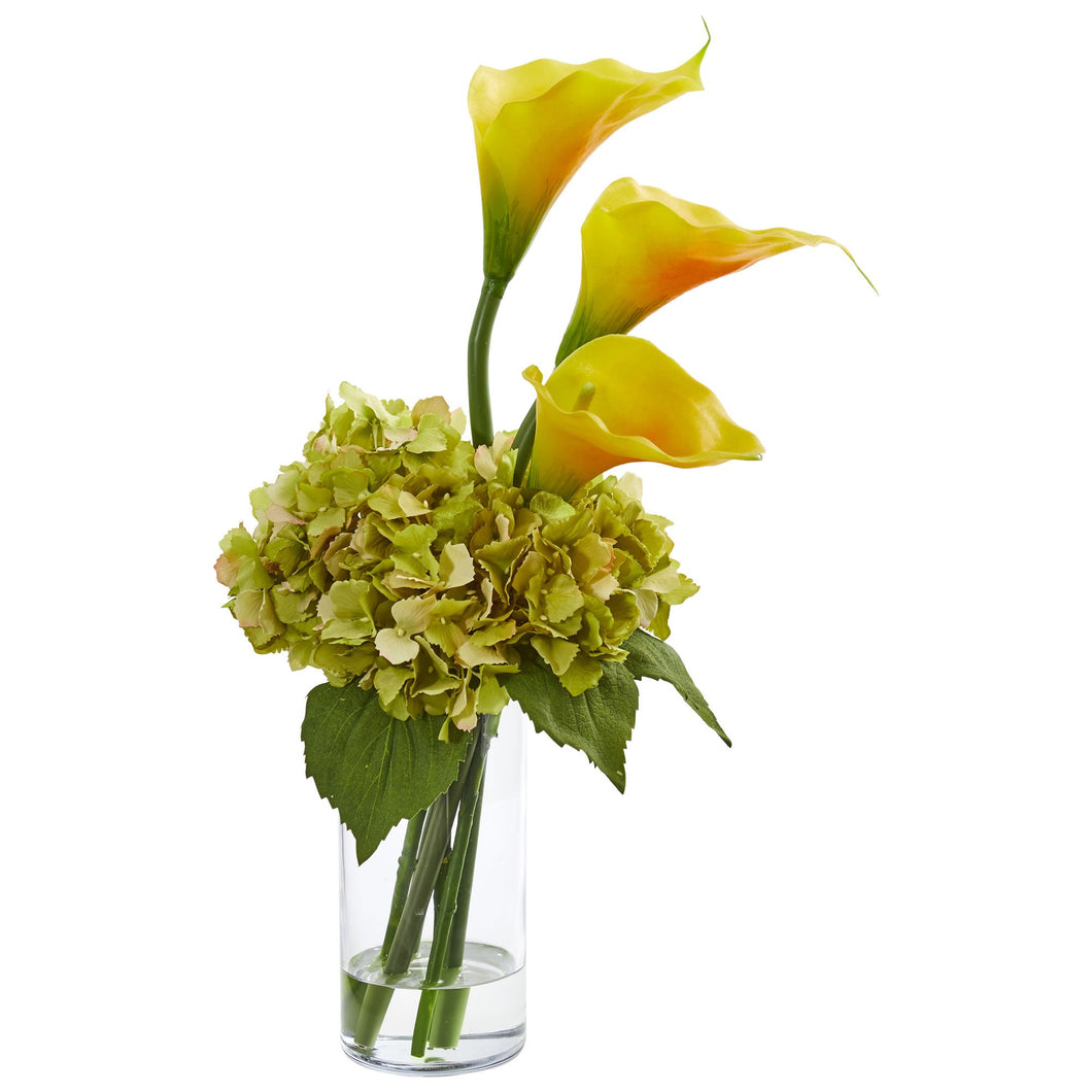 Calla Lily and Hydrangea Artificial Arrangement - Gold Yellow