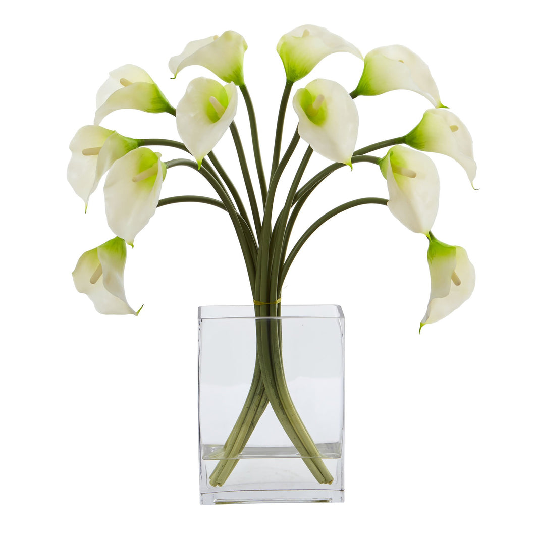 Calla Lily Artificial Arrangement in Vase - White