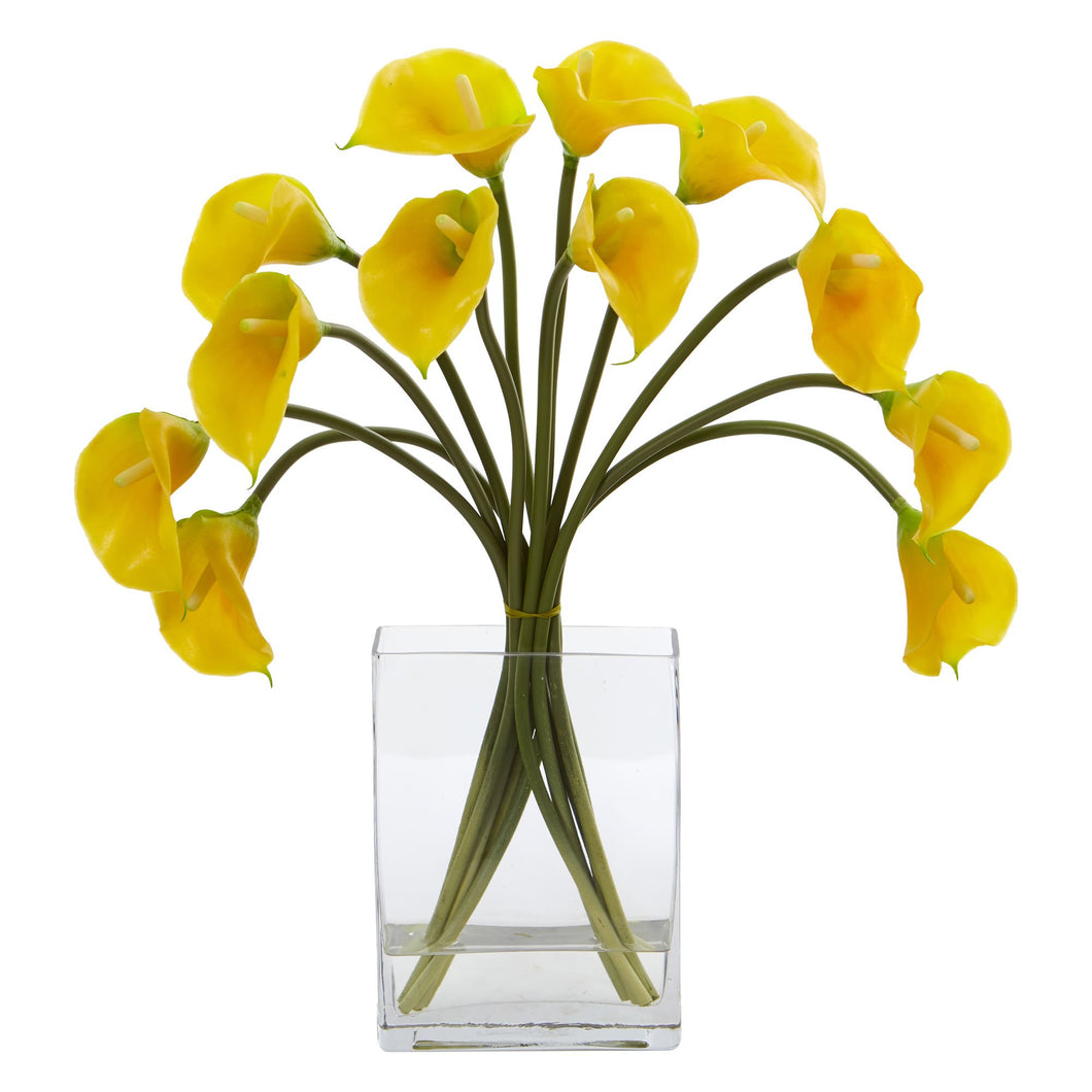 Calla Lily Artificial Arrangement in Vase - Yellow