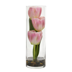 "10"" Tulips Artificial Arrangement in Cylinder Vase - Pink"