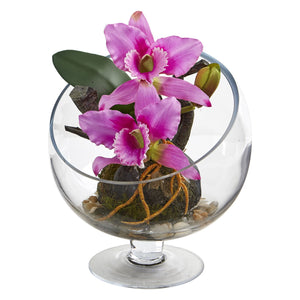 Mini Orchid Cattleya Artificial Arrangement in Pedestal Vase - Purple