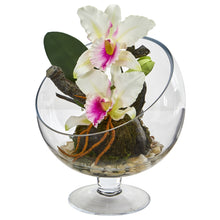 Load image into Gallery viewer, Mini Orchid Cattleya Artificial Arrangement in Pedestal Vase - White