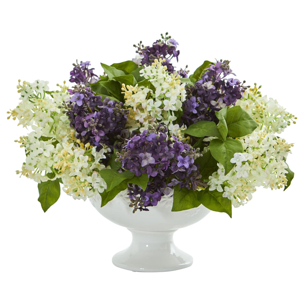Lilac Artificial Arrangement in White Vase - Purple White