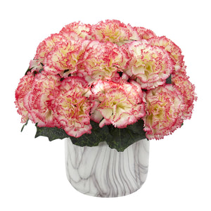 Carnation Artificial Arrangement in Marble Finished Vase - Cream Pink