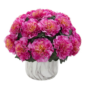 Carnation Artificial Arrangement in Marble Finished Vase - Dark Pink