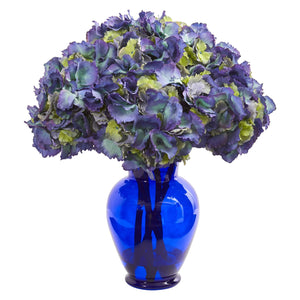 Hydrangea Artificial Arrangement in Blue Vase - Blue