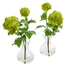 Load image into Gallery viewer, Snowball Hydrangea Artificial Arrangement in Vase (Set of 2)