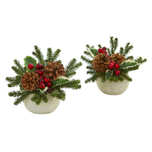 Load image into Gallery viewer, Christmas Inspired Artificial Arrangement in Ceramic Vase (Set of 2)