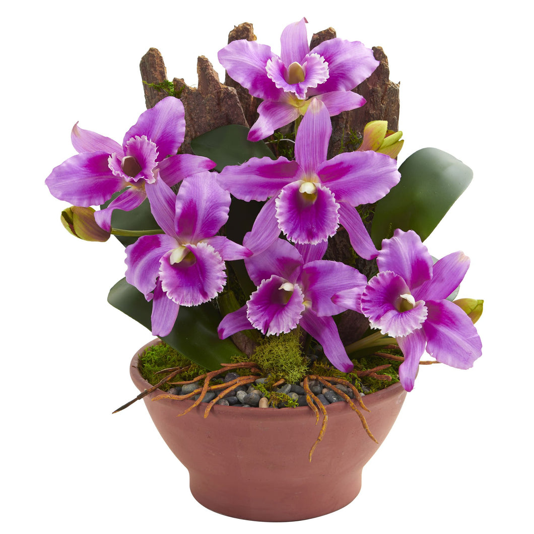 Cattleya Orchid Artificial Arrangement in Clay Vase - Purple