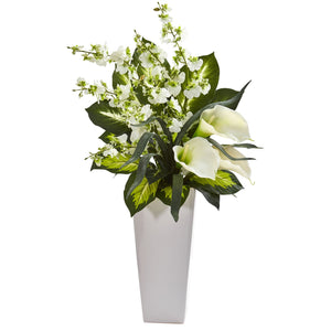 "29"" Calla Lily & Orchid Artificial Arrangement in Black Vase - White"