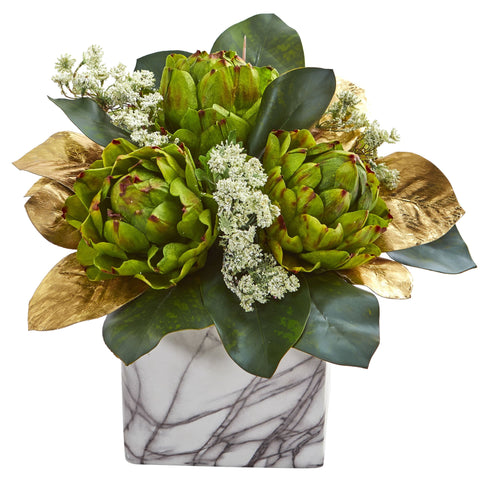 Golden Magnolias & Artichokes Artificial Arrangement in Marble Finished Planter