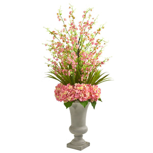 Cherry Blossom & Hydrangeas Artificial Arrangement in Urn - Pink
