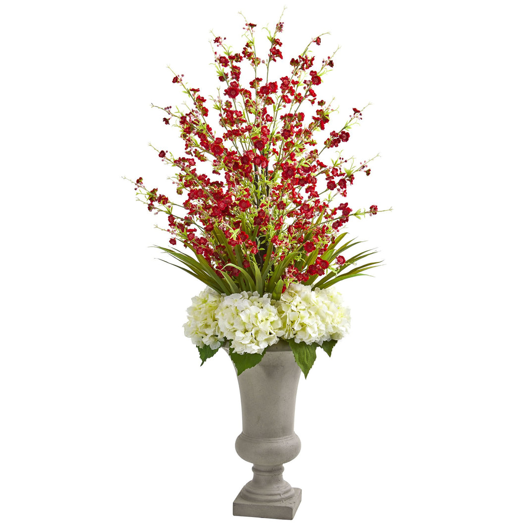 Cherry Blossom & Hydrangeas Artificial Arrangement in Urn - Red
