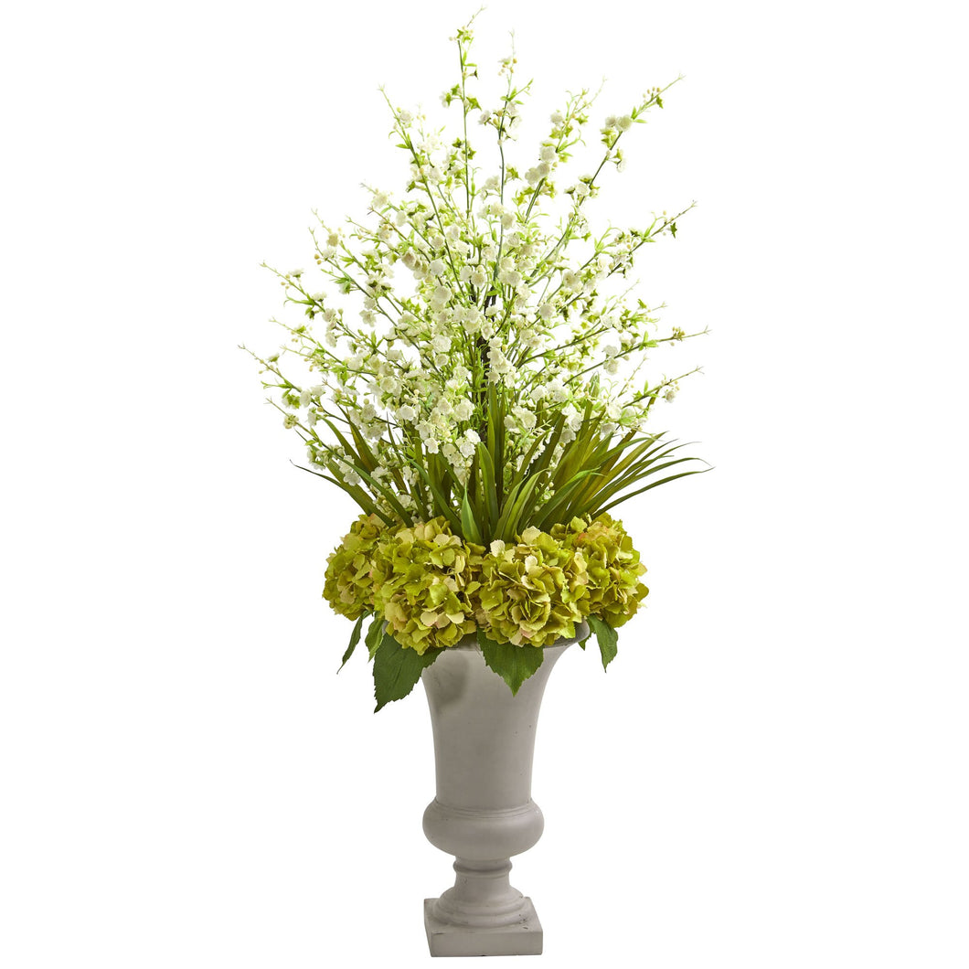 Cherry Blossom & Hydrangeas Artificial Arrangement in Urn - White