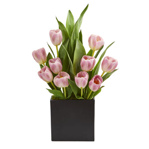 Tulips Artificial Arrangement in Black Vase - Pink