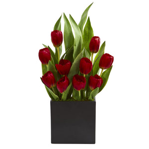 Tulips Artificial Arrangement in Black Vase - Red