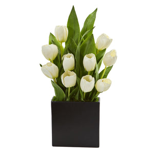 Tulips Artificial Arrangement in Black Vase - White