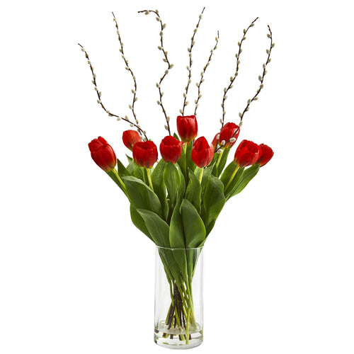 Tulips Artificial Arrangement in Cylinder Vase - Red