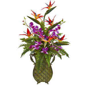 Bird of Paradise, Orchid and Fern Artificial Arrangement in Metal Planter