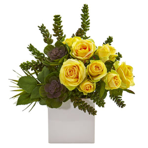 "14"" Rose & Succulent Artificial Arrangement in White Vase - Yellow"