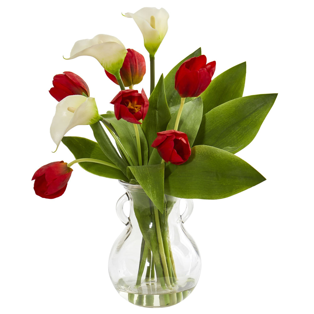 Calla Lily & Tulips Artificial Arrangement in Decorative Vase - White