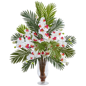 Phalaenopsis Orchid and Areca Palm Artificial Arrangement - White