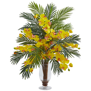 Phalaenopsis Orchid and Areca Palm Artificial Arrangement - Yellow