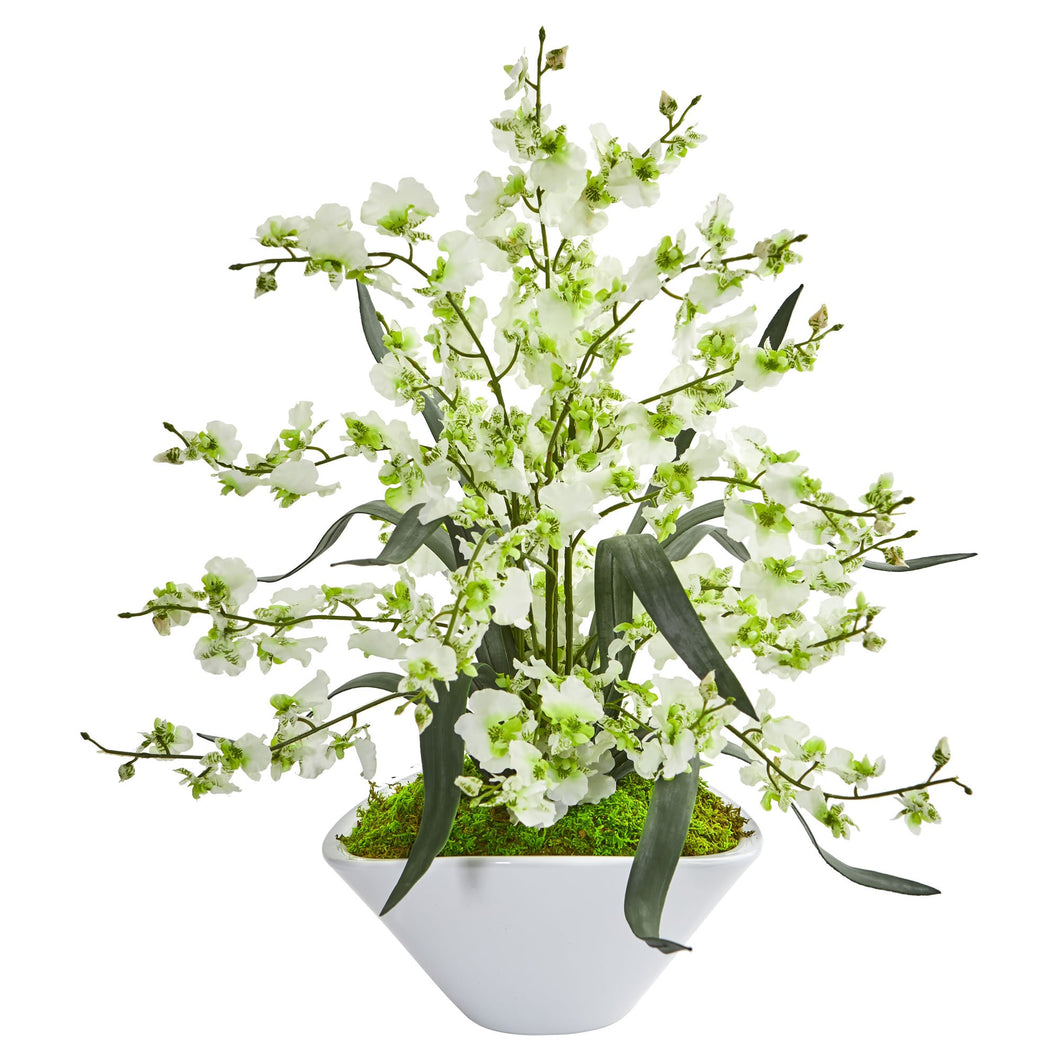 Dancing Lady Orchid Artificial Arrangement in White Vase - Green