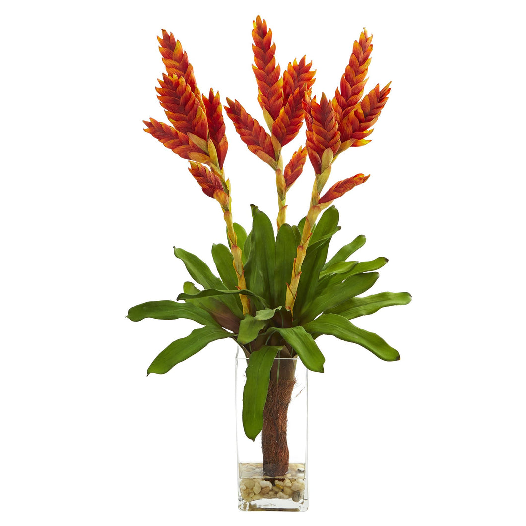 Tropical Bromeliad Artificial Arrangement in Glass Vase