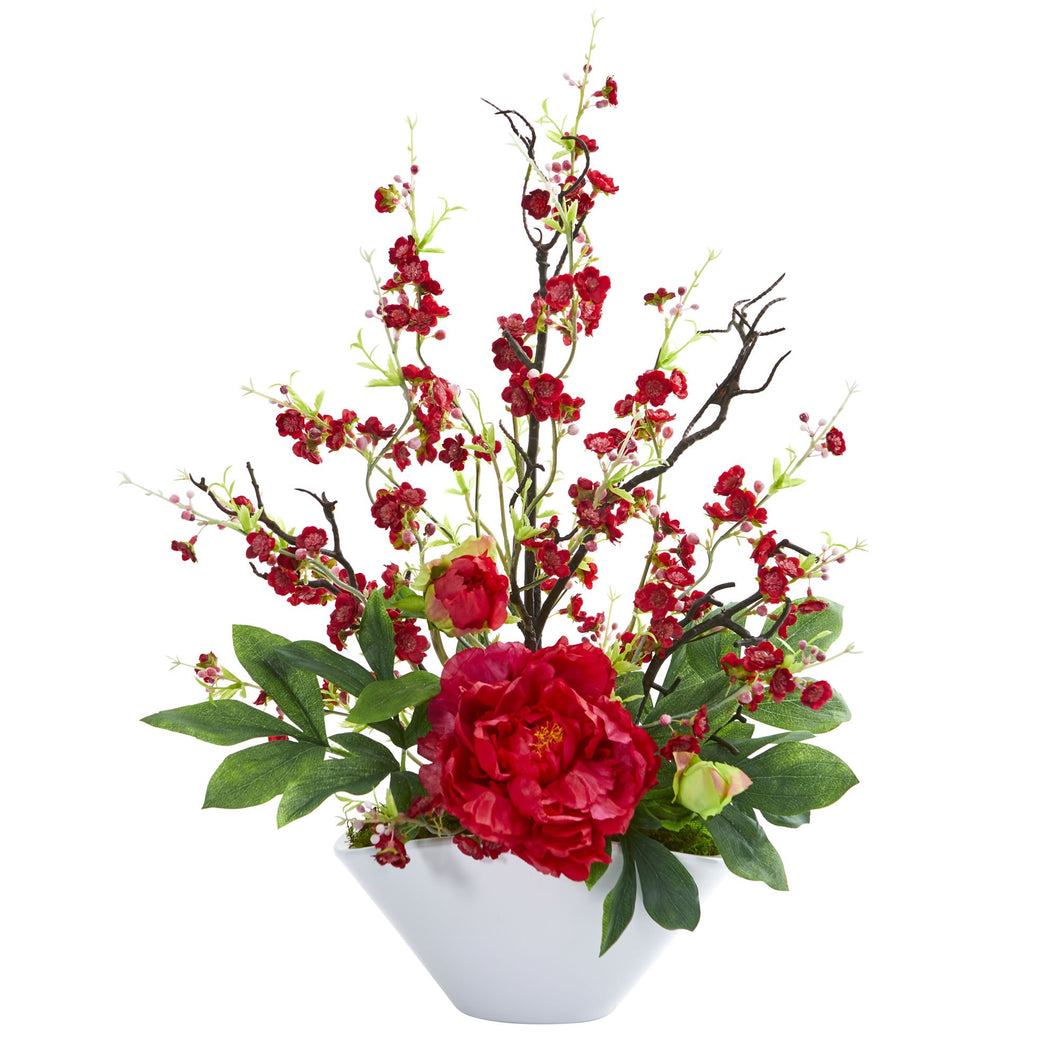 Cherry Blossom & Peony Artificial Arrangement - Red