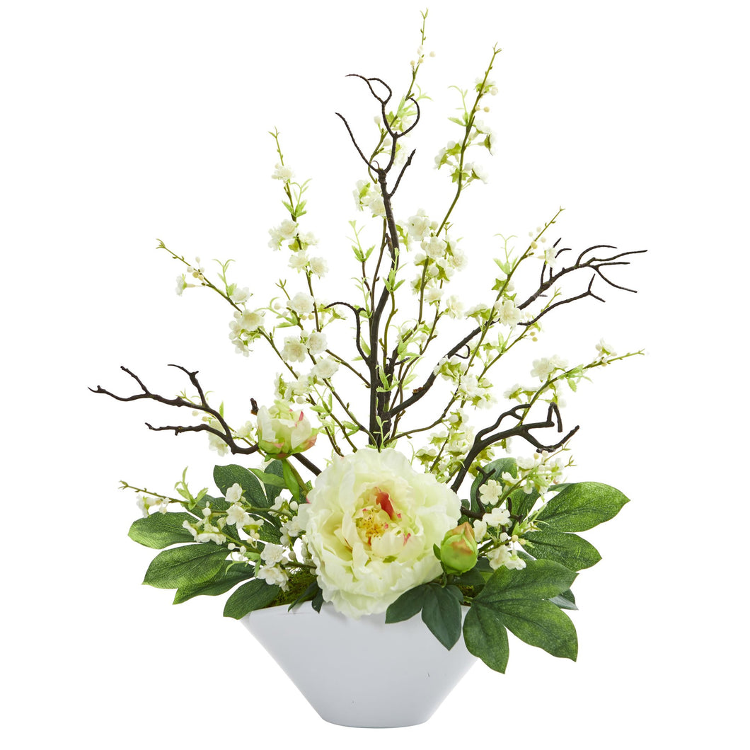 Cherry Blossom & Peony Artificial Arrangement - White