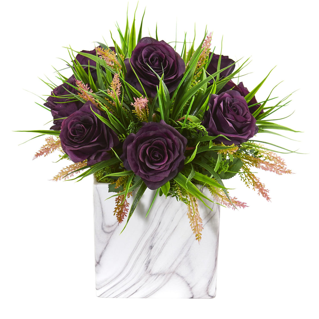 Roses & Grass Artificial Arrangement in Marble Finished Vase - Purple Elegance