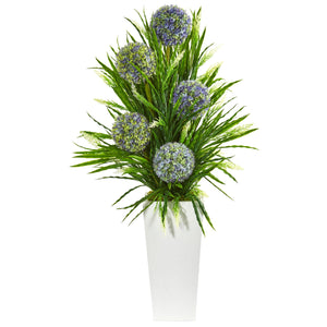 3' Ball Flower & Grass Artificial Arrangement in Planter - White
