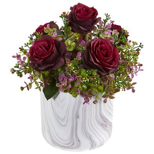 "13"" Roses & Eucalyptus Artificial Arrangement in Marble Finished Vase - Burgundy"