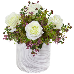 "13"" Roses & Eucalyptus Artificial Arrangement in Marble Finished Vase - White"