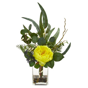 "21"" Rose and Eucalyptus Artificial Arrangement - Yellow"