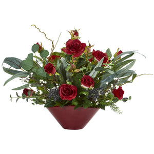 "16"" Rose and Eucalyptus Artificial Arrangement in Vase - Red"